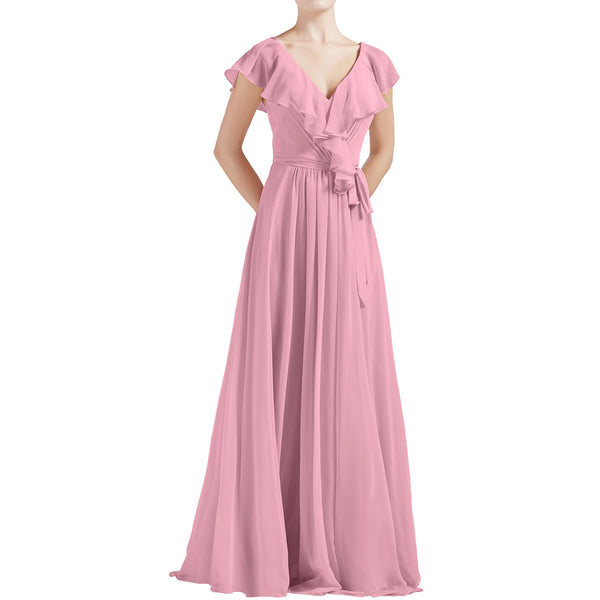 MACloth Women V Neck Ruffle Cap Sleeves Long Bridesmaid Dresses