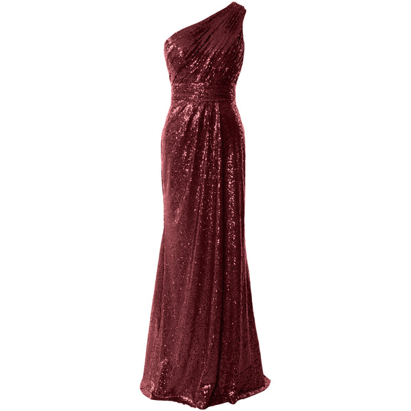 MACloth Women Bridesmaid Dresses One Shoulder Sequin Long Formal Gown Bridal