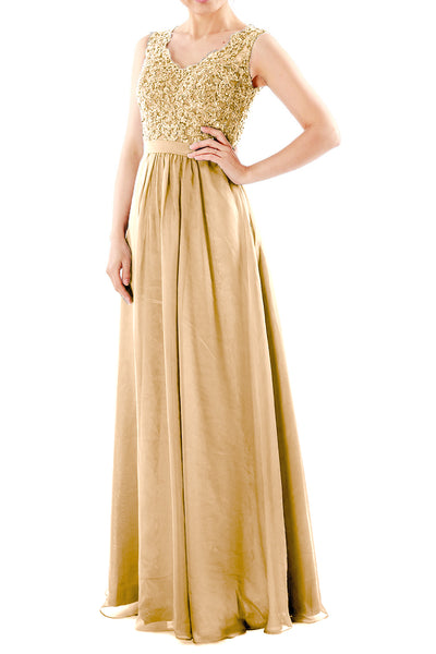 MACloth Women V Neck Lace Chiffon Long Prom Dresses Formal Party Evening Gown