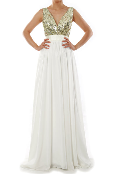 MACloth Women V Neck Sequin Long Prom Dress Wedding Party Formal Evening Gown