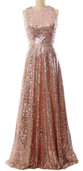MACloth Elegant Sequin Long Bridesmaid Dress Simple Prom Gown Evening Gown