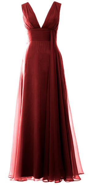 MACloth Women V Neck Long Bridesmaid Dress Chiffon Wedding Party Evening Gown
