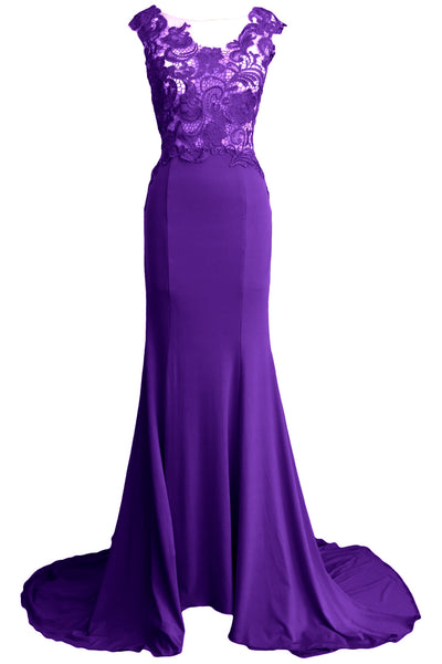 MACloth Women Mermaid Long Prom Dress 2017 Lace Jersey Formal Party Evening Gown