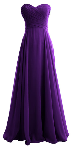 MACloth Elegant Strapless Chiffon Long Bridesmaid Dress Simple Prom Formal Gown