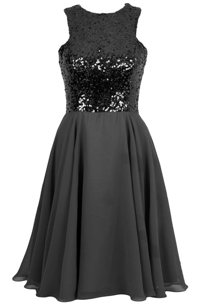 MACloth Elegant Sequin Chiffon Prom Homecoming Dress Short Bridesmaid Gown