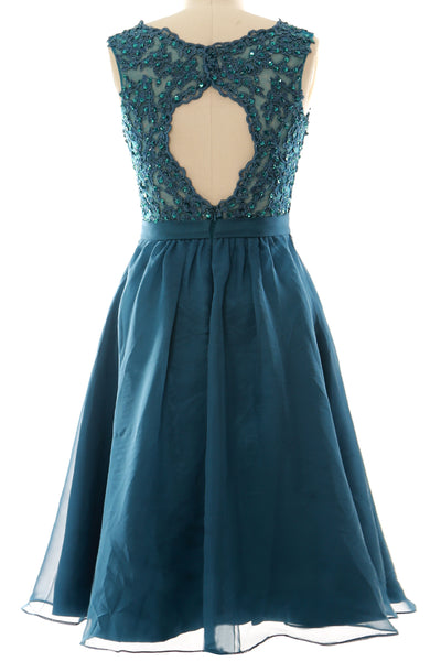MACloth Women V Neck Vintage Lace Chiffon Short Prom Dresses Wedding Party Gown