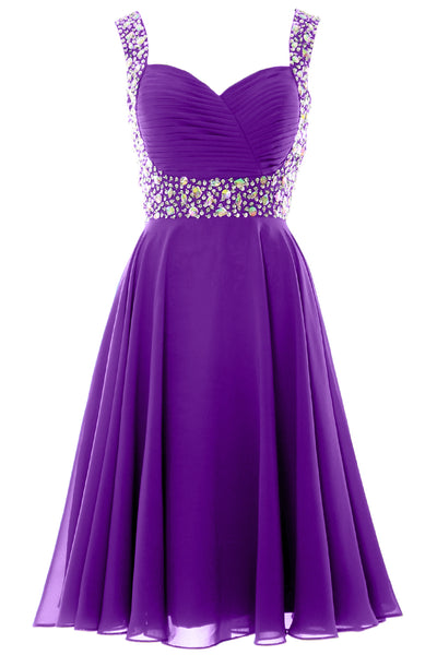 MACloth Elegant Straps Cocktail Dress Chiffon Short Wedding Party Formal Gown