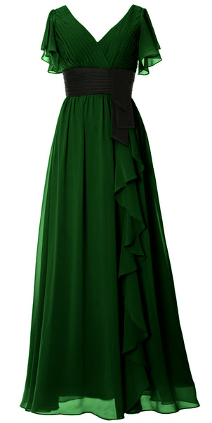 MACloth Women V Neck Evening Gown Short Sleeve Long Mother of The Bride Dress