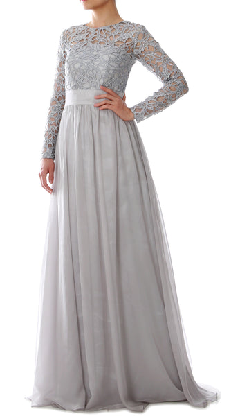 MACloth Elegant Long Sleeve Mother of Bride Dress Lace Formal Evening Party Gown