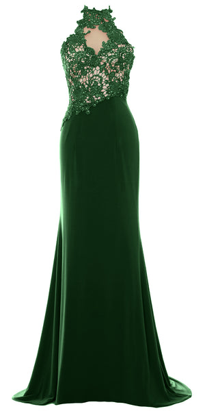 MACloth Women Mermaid Halter Lace Long Formal Evening Dress Wedding Party Gown
