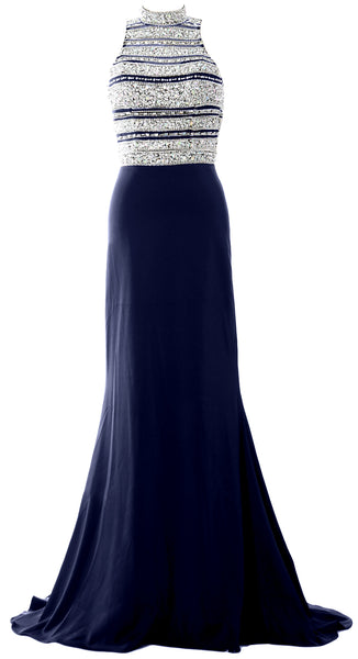 MACloth Women Crystal Beaded Mermaid Long Prom Dress Formal Evening Party Gown