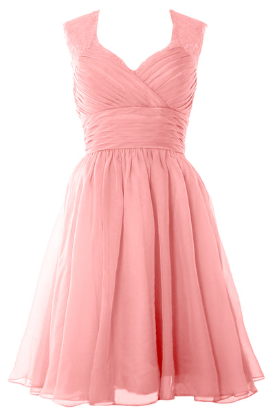 MACloth Elegant Short Bridesmaid Dress Vintage Chiffon Wedding Party Formal Gown