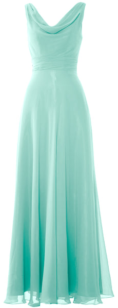 MACloth Women Long Cowl Neck Wedding Party Bridesmaid Dress Formal Gown