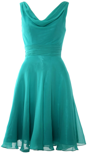 MACloth Elegant Cowl Neck Cocktail Dress Short Wedding Party Bridesmaid Gown