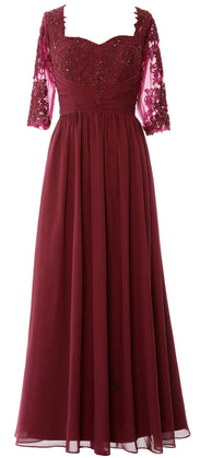 MACloth Illusion Half Sleeve Mother of Bride Dress Lace Formal Evening Gown