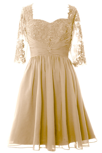 MACloth Women Midi Cocktail Formal Gown Half Sleeve Lace Mother of Bride Dress