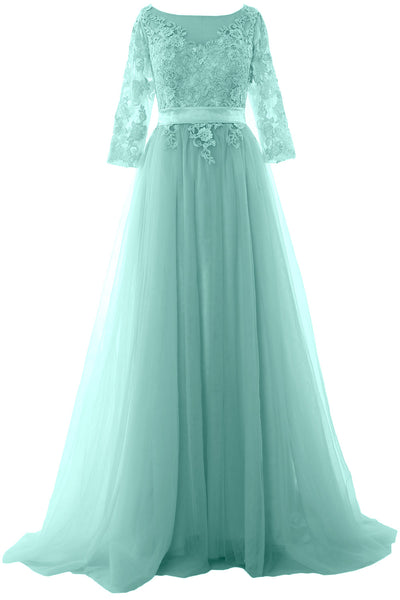 MACloth Elegant Half Sleeve Prom Dress Lace Tulle Maxi Evening Formal Gown