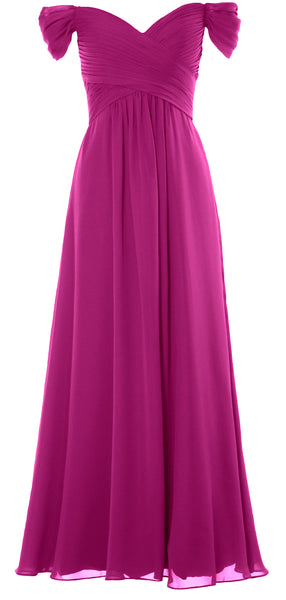 MACloth Women Off The Shoulder Long Prom Dress Chiffon Wedding Party Formal Gown