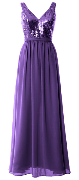 MACloth Women Straps V Neck Sequin Maxi Bridesmaid Dress 2017 Simple Prom Gown