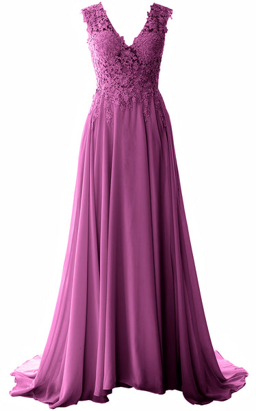 MACloth Elegant V Neck Long Prom Dress Vintage Lace Chiffon Formal Evening Gown