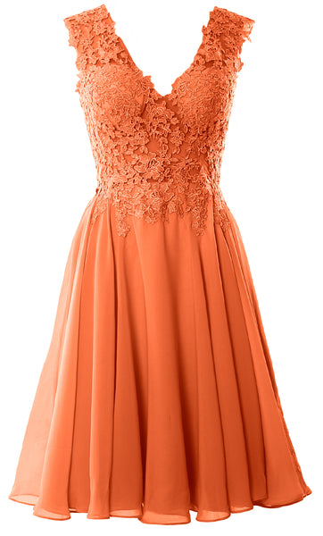 MACloth Gorgeous V Neck Cocktail Dress Short Lace Prom Homecoming Formal Gown