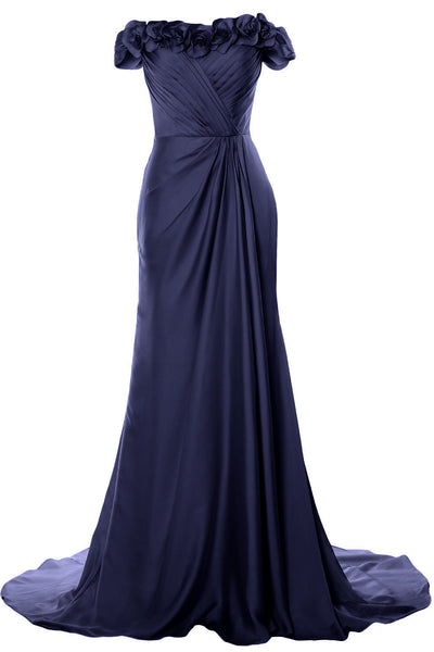 MACloth Women Off Shoulder with Flowers Long Prom Dress 2018 Evening Formal Gown