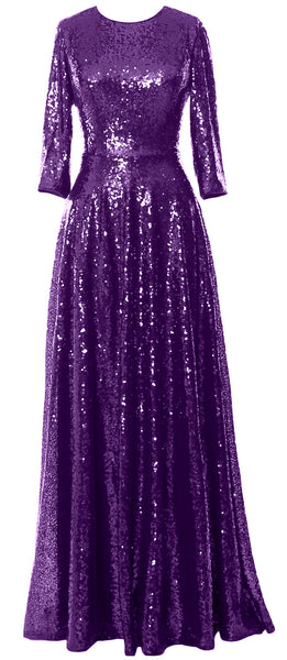 MACloth Women 3/4 Sleeves Sequin Evening Gown Vintage Mother of The Bride Dress