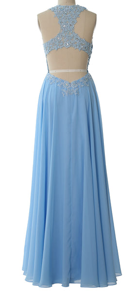 MACloth Elegant High Neck Long Prom Dress Lace Chiffon Formal Party Evening Gown