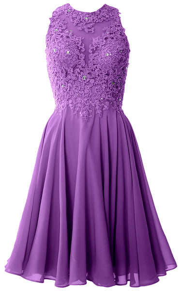 MACloth Women High Neck Lace Cocktail Dress Short Prom Homecoming Formal Gown