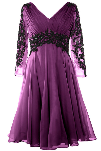 MACloth Women Evening Formal Gown V Neck Long Sleeve Mother of The Brides Dress