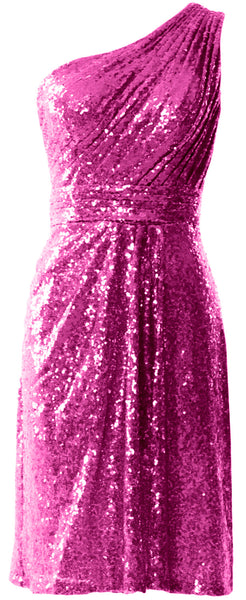 MACloth Women One Shoulder Sequin Cocktail Dress Short Bridesmaid Fomral Gown