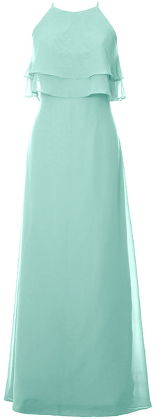 MACloth Elegant Long Bridesmaid Dress Tiered Chiffon Wedding Party Formal Gown