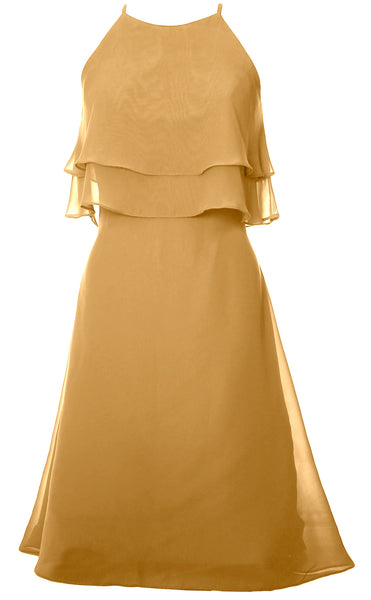 MACloth Tiered Chiffon Short Bridesmaid Dress Halter Cocktail Dress Prom Gown