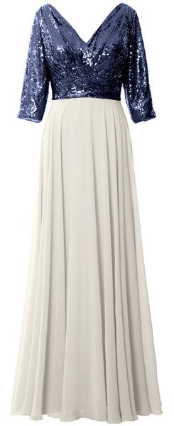 MACloth Women 3/4 Sleeve V Neck Mother Dress Sequin Chiffon Wedding Formal Gown