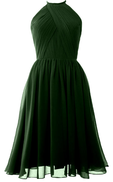 MACloth Women Halter Chiffon Cocktail Dress Short Bridesmaid Gown with Open Back