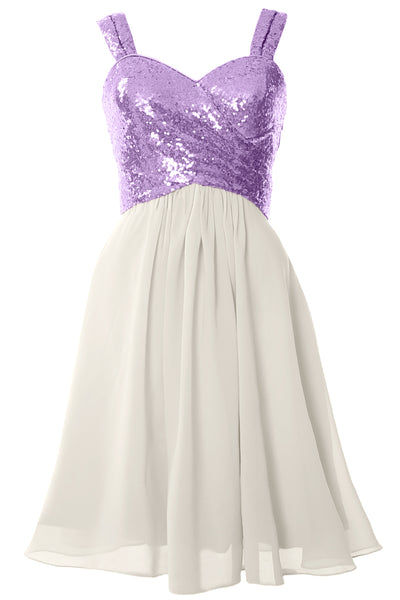 MACloth Gorgeous Sequin Short Bridesmaid Dress Cowl Back Cocktail Formal Gown