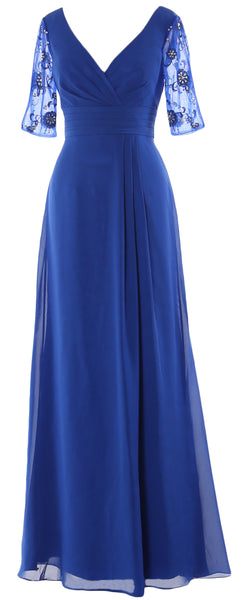 MACloth Women Half Sleeves Long Mother of The Bride Dress V Neck Formal Gown