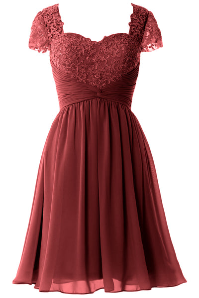 MACloth Women Cap Sleeve Party Formal Gown Short Lace Mother of Bride Dress