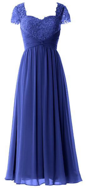 MACloth Women Lace Chiffon Evening Formal Gown Cap Sleeves Mother of Bride Dress