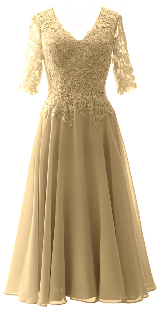 The Lace Women Half Gown Brid Evening Formal Sleeves Of Macloth Mother O8PNnX0wk