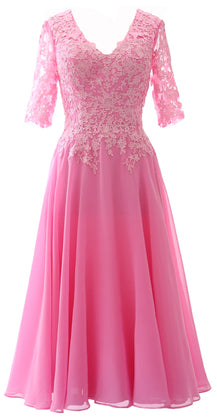 MACloth Women Lace Formal Evening Gown Half Sleeves Mother of The Bride Dress