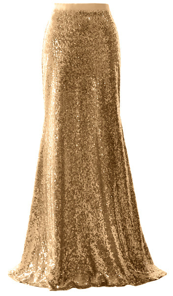 MACloth Elegant Sequin Long Mermaid Skirt Wedding Bridesmaid Party Dress