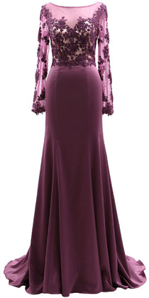 MACloth Women Long Sleeves Illusion Mother of The Bride Dress Lace Evening Gown