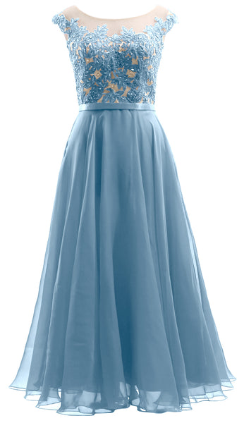 MACloth Cap Sleeves Illusion Midi Prom Dress Lace Chiffon Wedding Party Dress