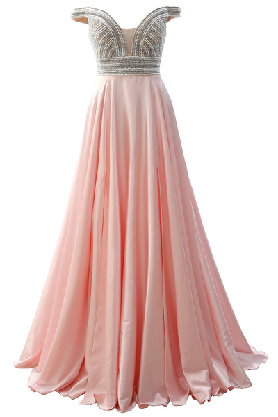 MACloth Off the Shoulder Beaded Long Prom Dress Pink Formal Evening Gown
