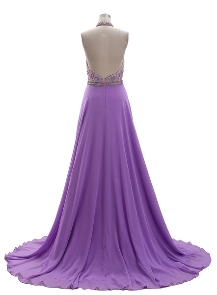 MACloth Halter High Neck Beaded Lavender Long Prom Dress Formal Evening Gown