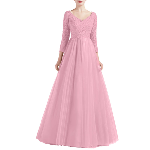 MACloth Women V Neck 3/4 Sleeve Long Tulle Prom Party Dresses Ball Gown Bridal
