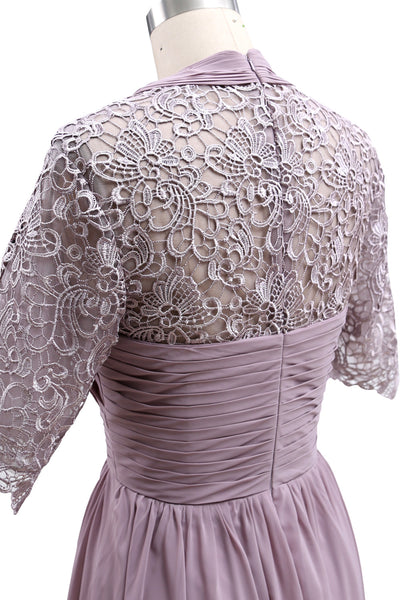 MACloth Mother of Bride Dresses Lace Cocktail Party Wedding Guest Half Sleeves