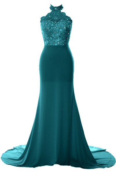 MACloth Women Prom Dresses Mermaid Sleeveless Lace Evening Party Formal Gown