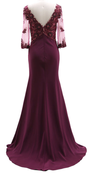 MACloth 3/4 Sleeves Illusion Lace Evening Gown V Neck Mother of the Bride Dress